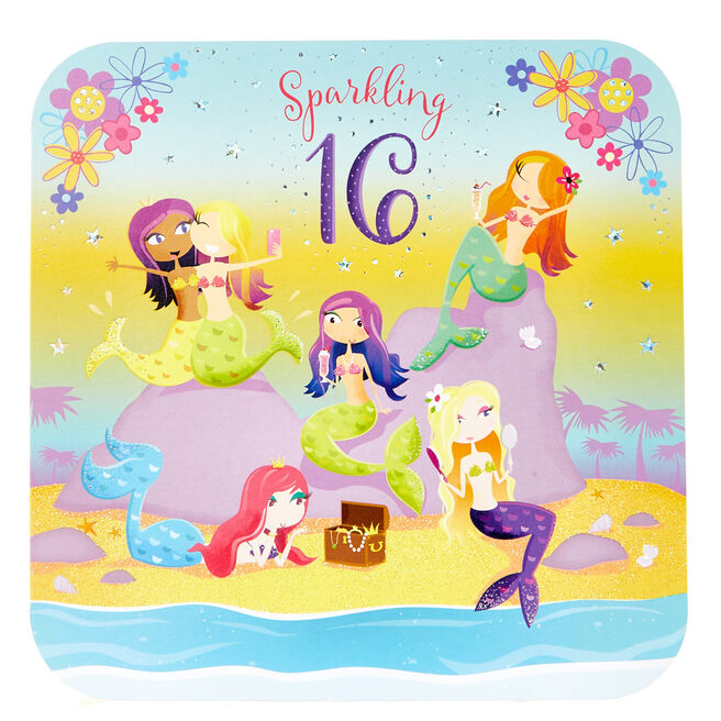 Platinum Collection 16th Birthday Card - Mermaids