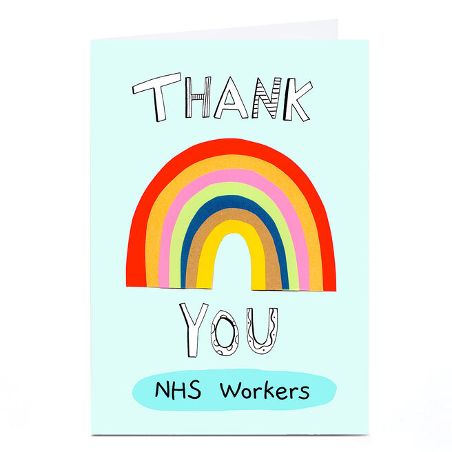 Personalised Lindsay Loves To Draw Thank You Card - Big Rainbow