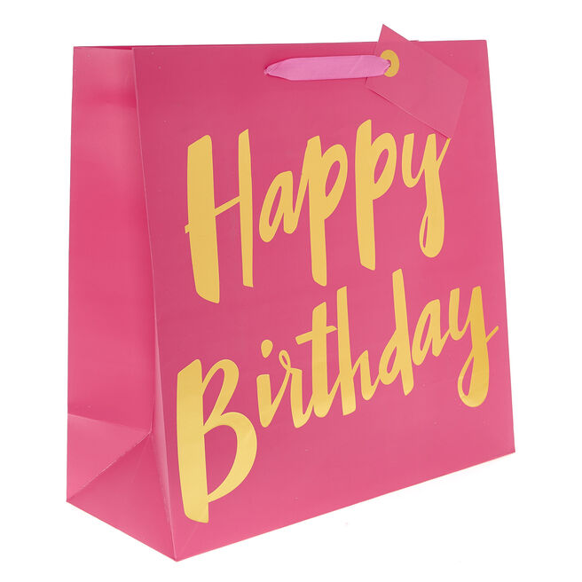 Large Square Gift Bag - Happy Birthday Pink