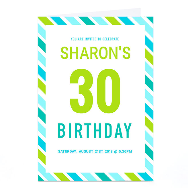Personalised Birthday Party Invitation - Blue and Green