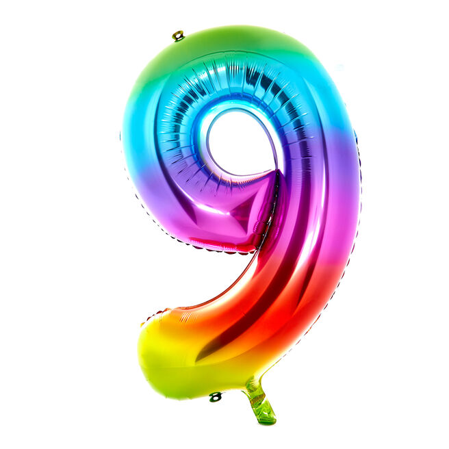 Giant Rainbow Number 9 Foil Helium Balloon - DEFLATED