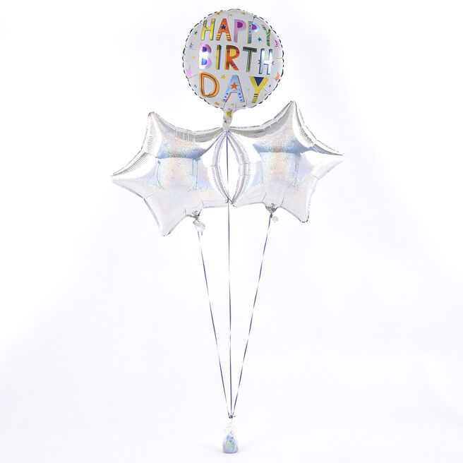 Happy Birthday Square Text Silver Balloon Bouquet - DELIVERED INFLATED!