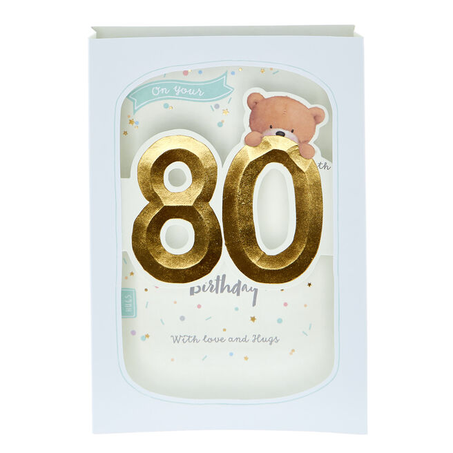 3D Pop-Up Hugs Bear 80th Birthday Card