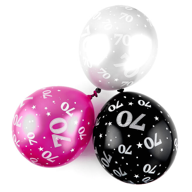 Pink 70th Birthday Balloons - Pack Of 6