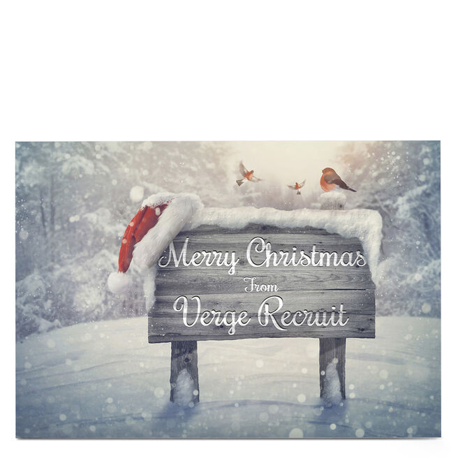 Personalised Business Christmas Card - Snowy Sign