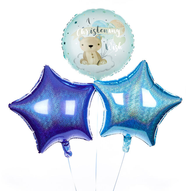 Blue Christening Wish Balloon Bouquet - DELIVERED INFLATED!