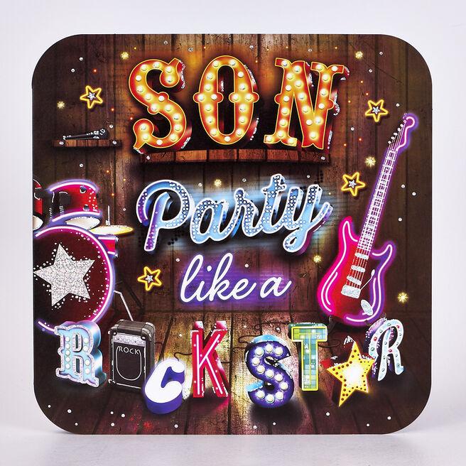 Platinum Collection Birthday Card - Son Rock Star