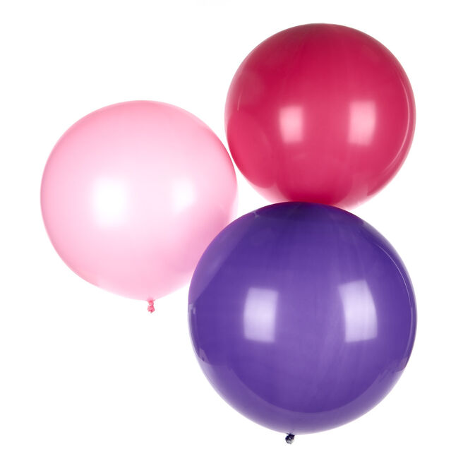 Pack of 3 Helium-Quality 24-Inch Latex Balloons - Pink & Purple