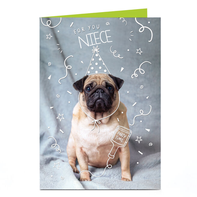 Personalised Birthday Card - Party Pug, Niece