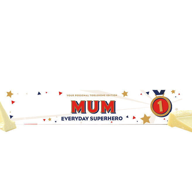 Personalised Everday Superhero White Chocolate Toblerone 360g