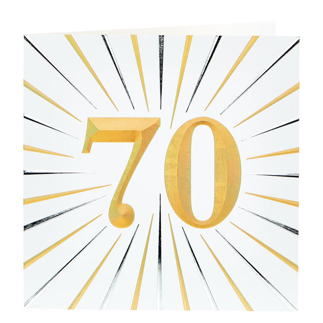 Platinum Collection 70th Birthday Card - Gold & Silver