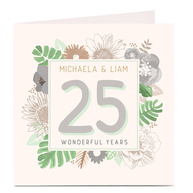 Personalised Anniversary Card - Flowers & Green Leaves