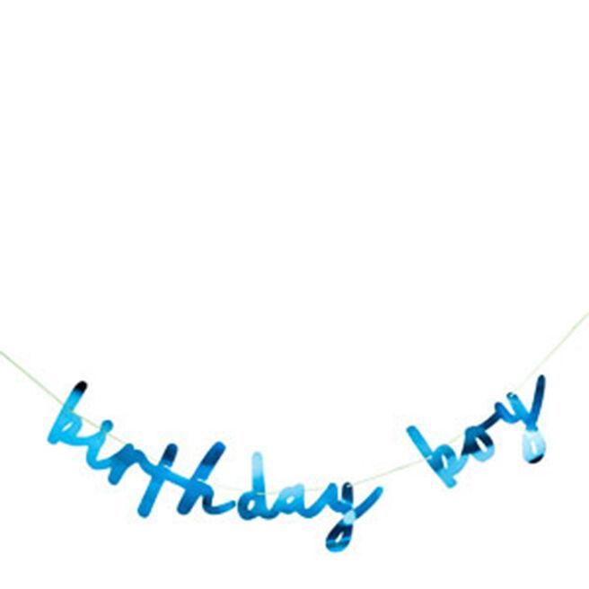 Blue Birthday Boy Script Party Banner