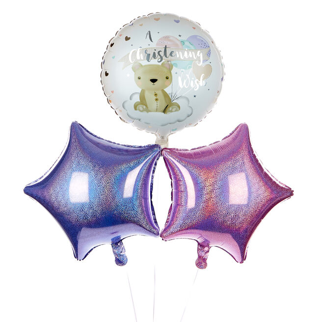 Pink Christening Wish Balloon Bouquet - DELIVERED INFLATED!