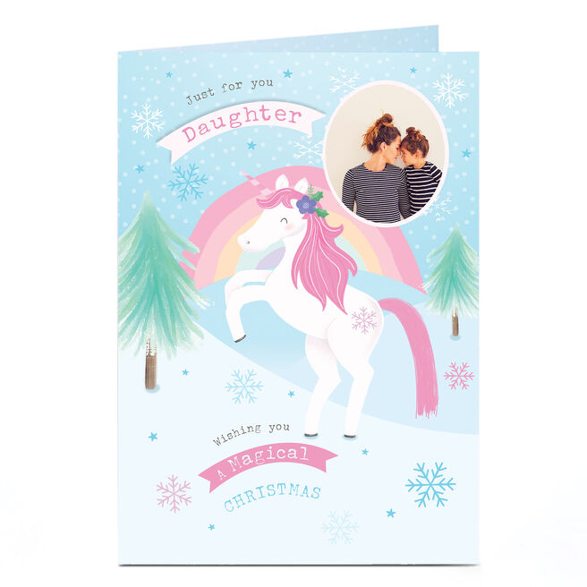 Personalised Photo Christmas Card - Unicorn Magic Daughter