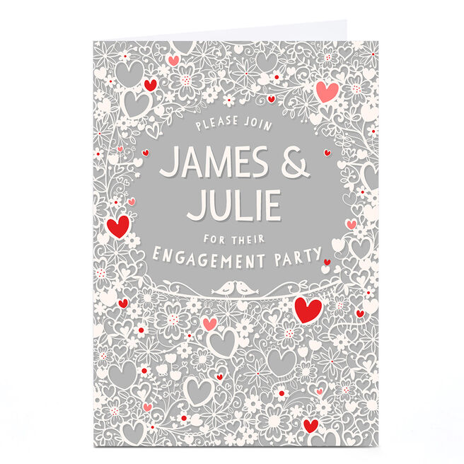 Personalised Engagement Invitation - Hearts and Flowers