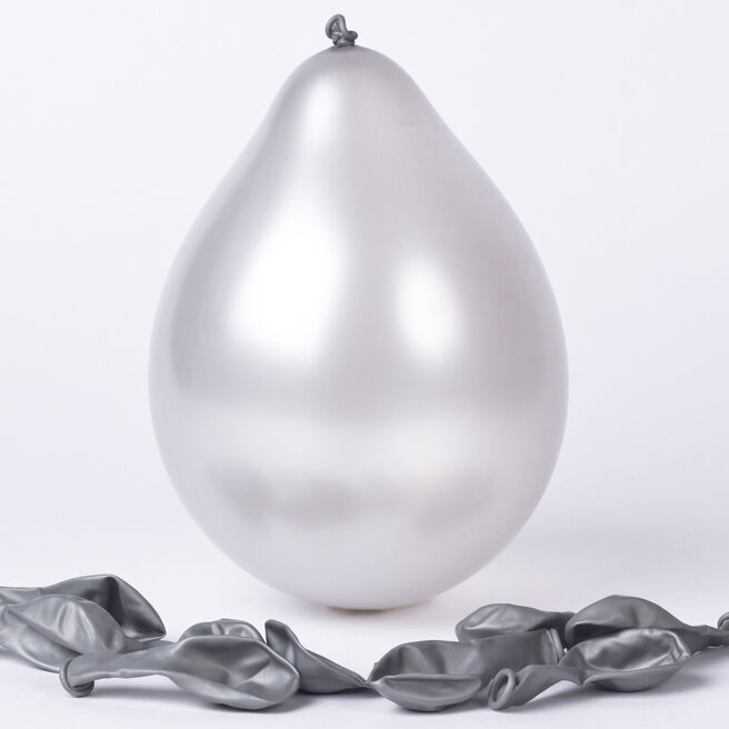Silver Small Air-fill Latex Balloons - Pack Of 10