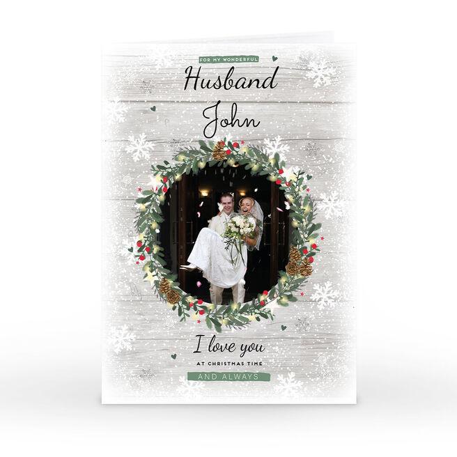 Photo Christmas Card - Wreath & Snowflakes, Husband