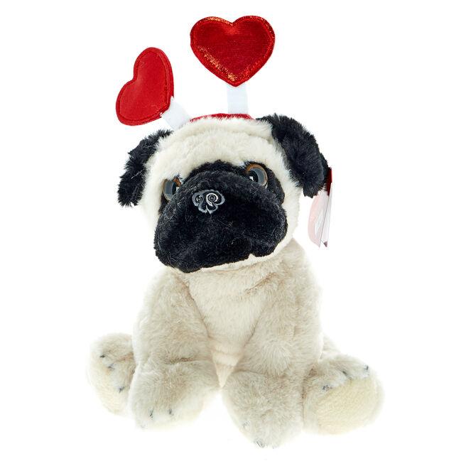 Pug Soft Toy With Heart Headband