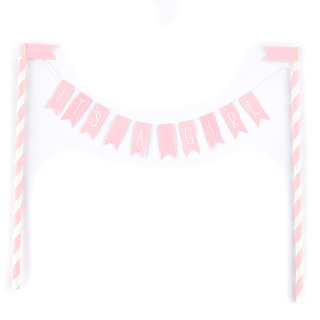 Pink & White It's A Girl Bunting Cake Topper