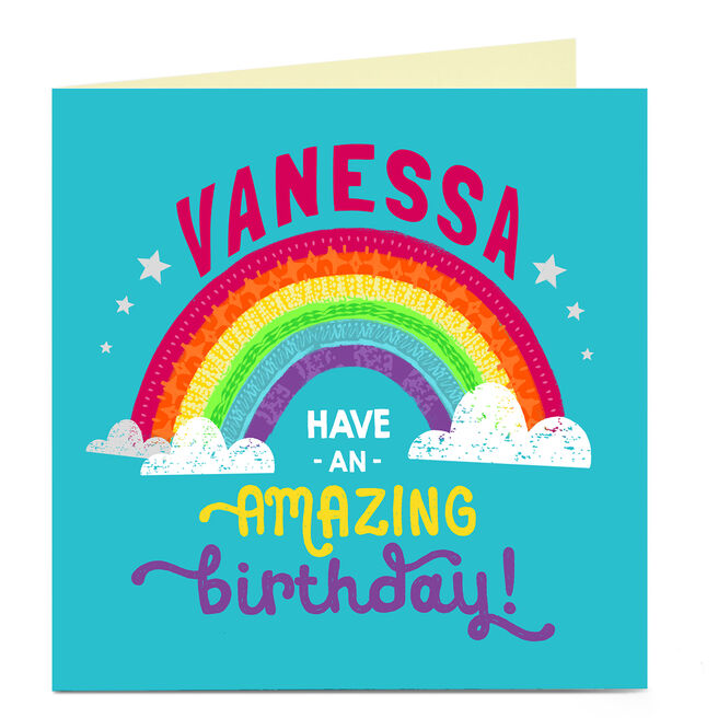 Personalised Charity Birthday Card - Rainbow