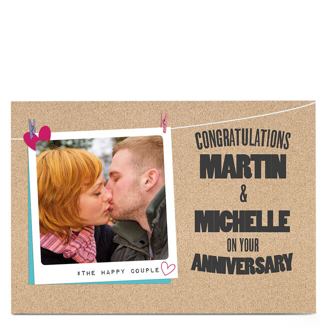 Photo Anniversary Card - Happy Couple Hanging Polaroid