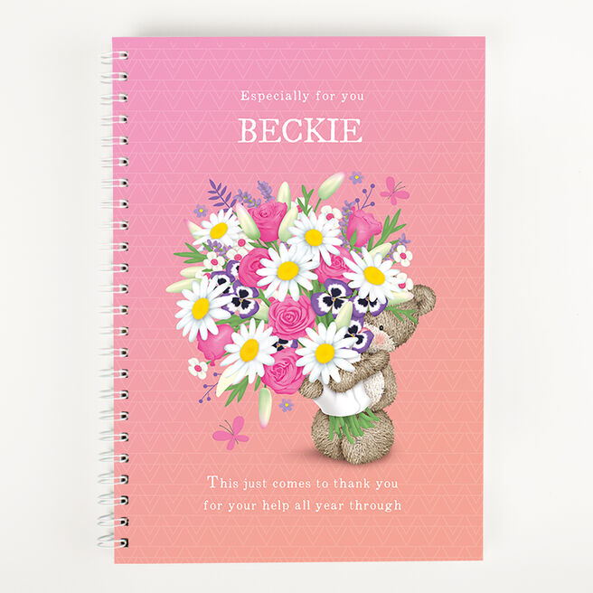 Personalised Thank You Teacher Notebook - Hugs Flower Bear