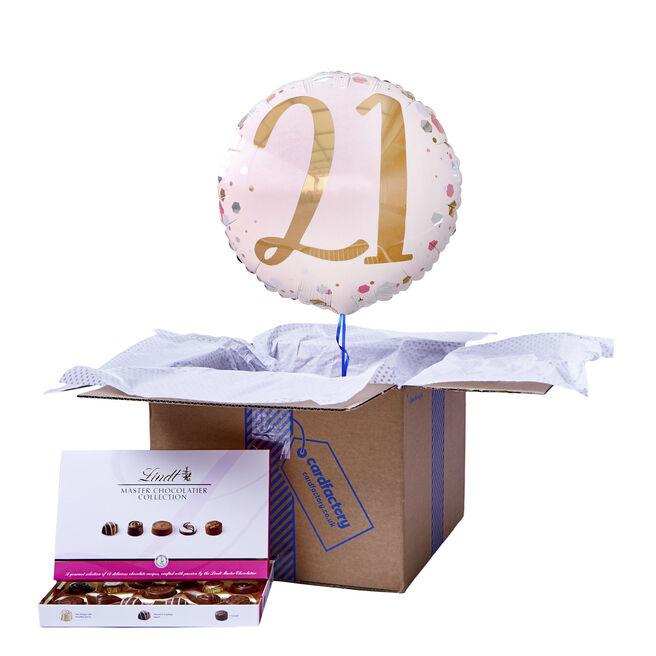 Pink & Rose Gold 21st Birthday Balloon & Chocolate Box