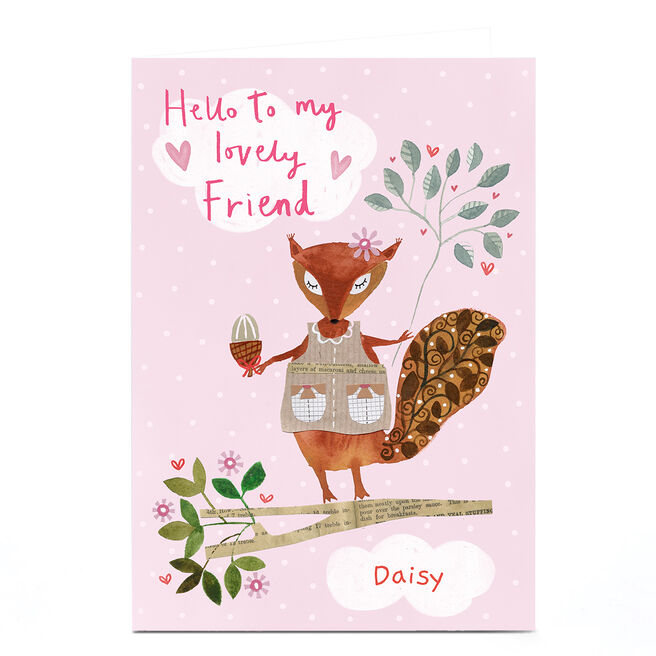 Personalised Lindsay Loves To Draw Card - Friend Squirrel