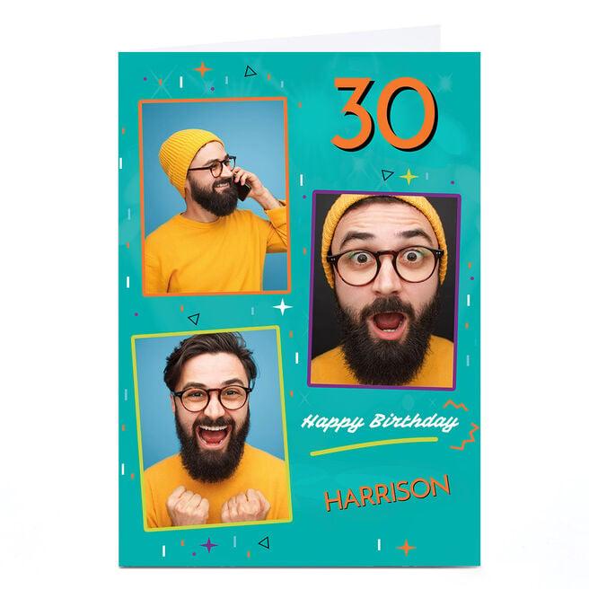 Photo Birthday Card - Blue & Orange Frames