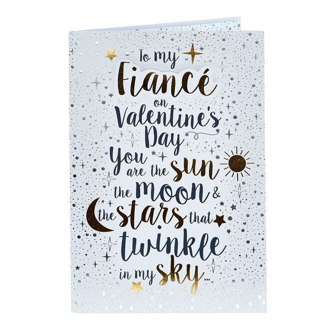 Valentine's Day Card - Fiance Sun Moon & Stars