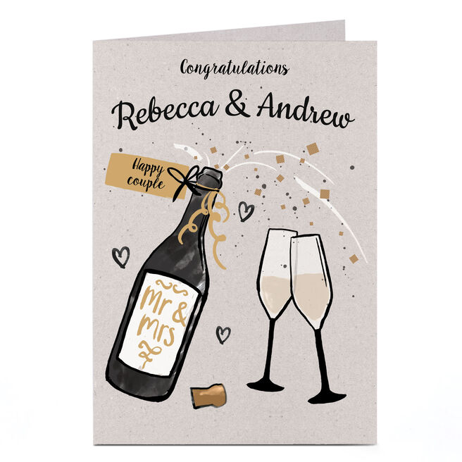 Personalised Wedding Card - Champagne and Glasses