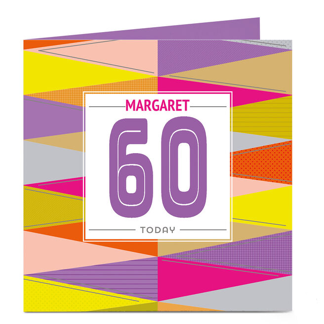 Personalised Any Age Birthday Card - Coloured Pattern