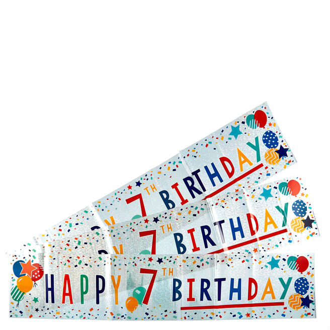 Holographic 7th Birthday Party Banners - Pack Of 3