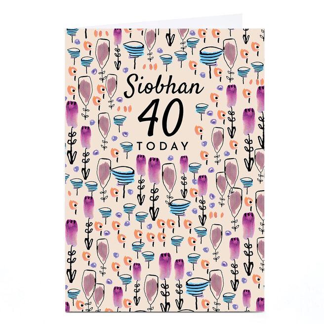 Personalised Rebecca Prinn Birthday 40th Card - Pink