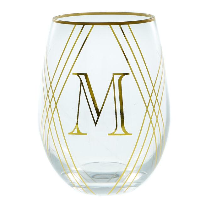 Letter M Glass Tumbler