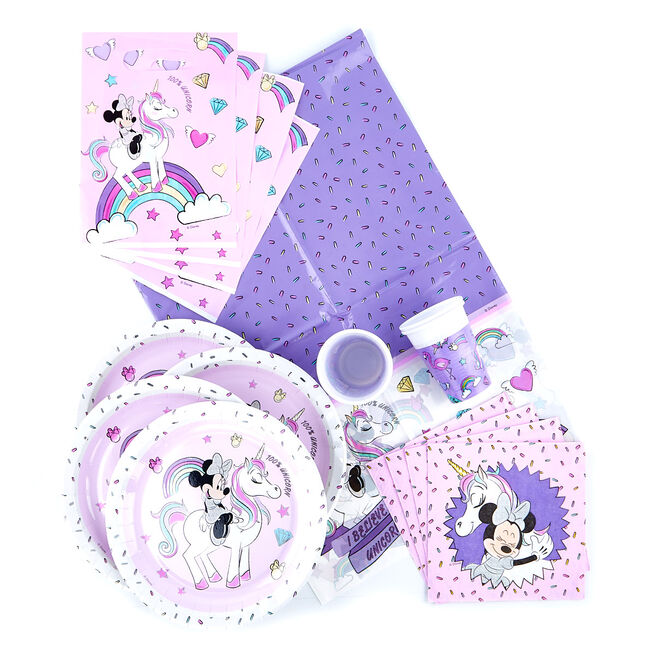 Minnie Mouse & Unicorn Party Tableware Bundle - 91 Pieces