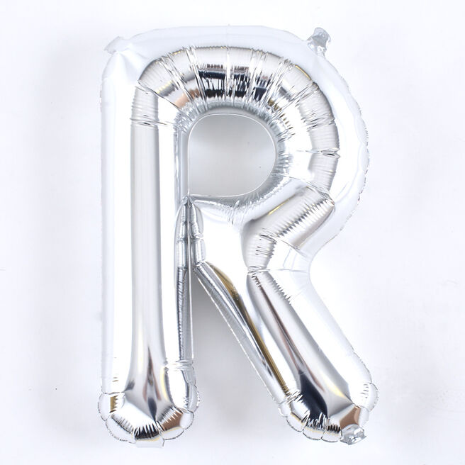 Silver Letter R Air-Inflated Balloon