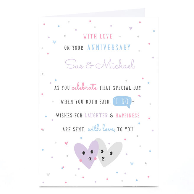 Personalised Wedding Anniversary Card - Laughter & Happiness