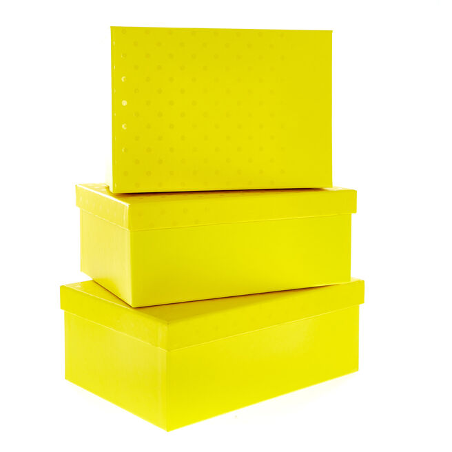 Yellow Polka Dot Gift Boxes - Set of 3