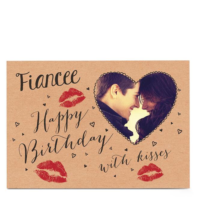 Photo Birthday Card - Lipstick Kisses [Fiancee]