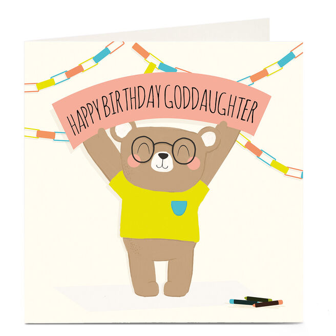 Personalised Birthday Card - Bear & Banner, Goddaughter