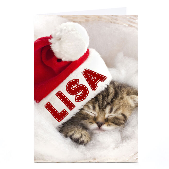 Personalised Christmas Card - Cat In A Hat