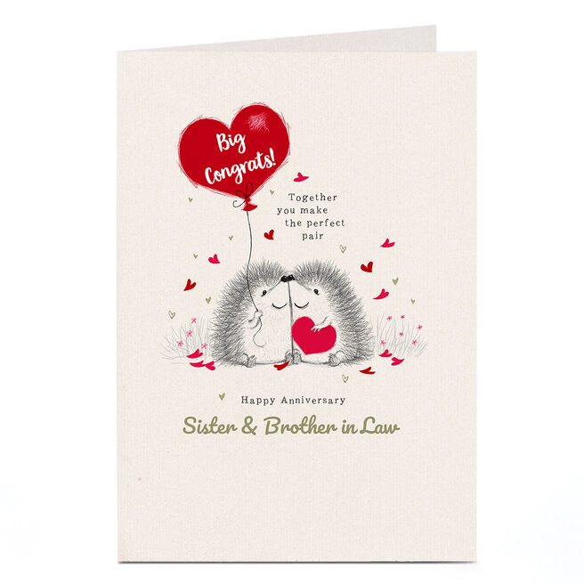 Personalised Anniversary Card - Hedgehogs Sister & Brother in Law