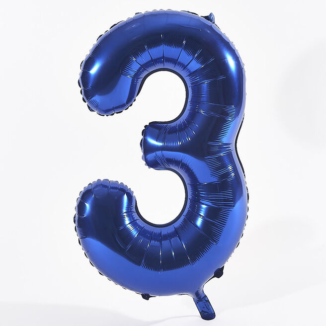 Blue Number 3 Foil Giant Helium Balloon (Deflated)