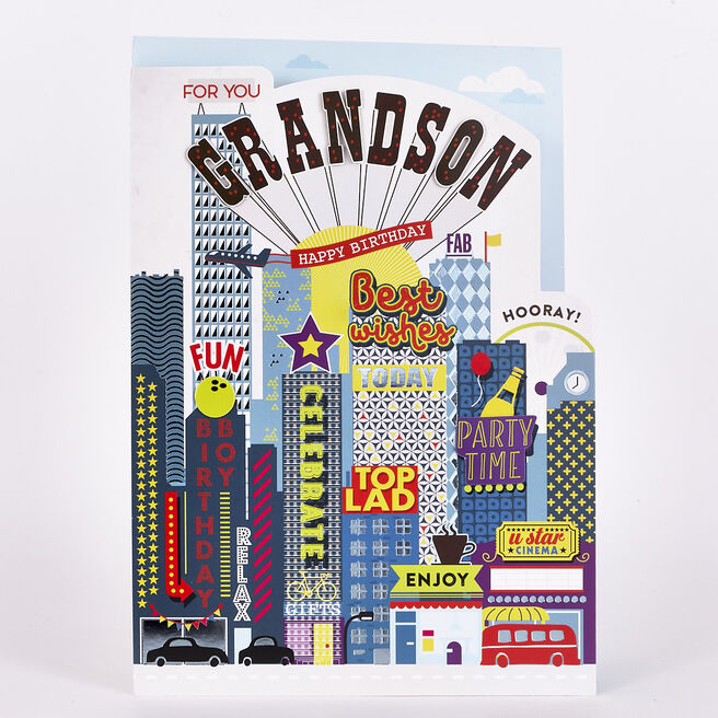 Signature Collection Birthday Card - Grandson City Scene