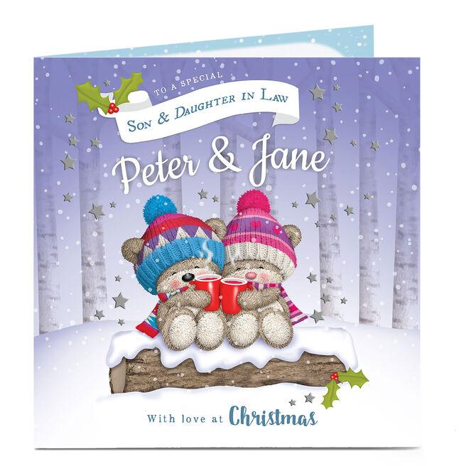 Hugs Personalised Christmas Card - Bear Snow Couple