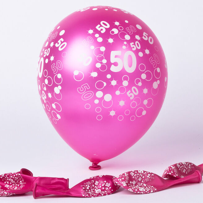 Metallic Pink Circles 50th Birthday Balloons - Pack Of 6