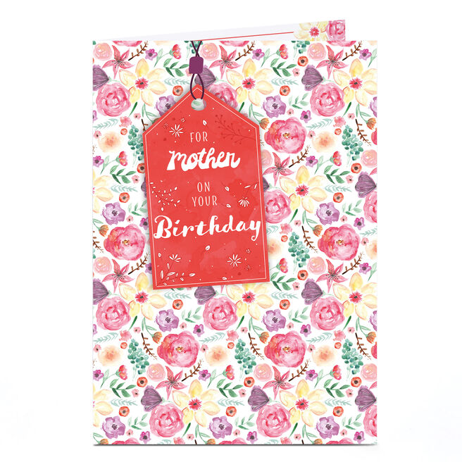 Personalised Birthday Card - Floral Tag