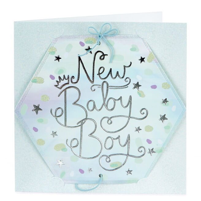 Boutique Collection New Baby Boy Photo Keepsake Card